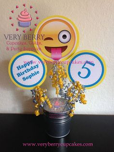 3 Emoji Centerpieces/3 Emoji with Name and Age Centerpieces/Emoji party/Face with stuck out tongue Emoji Centerpieces by VeryberryParty on Etsy