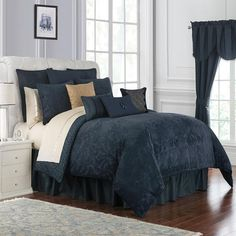 Give your bedroom textural richness with the opulent Waterford Leighton Reversible Comforter Set. The exquisite jacquard woven bedding showcases a soft textured surface that is beautifully contrasted with a chenille damask motif in deep midnight blue. Blue Comforter Sets, Blue Bedding, Queen Bedding, Waterford Bedding, Luxury Bedding Sets, Bed Styling, Beautiful Bedrooms, Bedding Collections, Bedding Shop