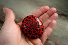 Ladybug painted rock, dot artwork stone, red and black painted rock. The lady bug has been a symbol of good luck for many, others believe when a lady bug visits, it is a loved one who has passed away stopping by to visit and remind you that they love you. I give these away to friends who have recently lost a loved one, or who are in a time of personal struggle.