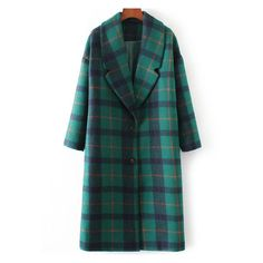 Green Plaid Lapel Single Breasted Winter Coat (1261060 BYR) ❤ liked on Polyvore featuring outerwear, coats, green coat, tartan coat, single-breasted trench coats, plaid coat and green plaid coat