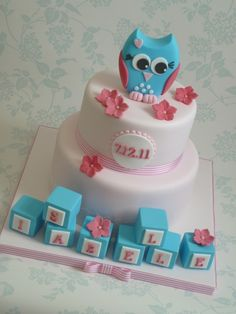 What a fantastically cute pink, white and blue Owl Christening Cake. Pretty Cakes, Cute Cakes, Beautiful Cakes, Amazing Cakes, Torta Baby Shower, Cake Decorating Supplies, Cookie Decorating, Fondant Cakes, Cupcake Cakes
