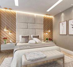 Dormitório do casal, super contemporâneo e aconchegante!! Ameiiii a cabeceira com diferentes formas geométricas!! ❤️❤️❤️❤️❤️ ⠀…