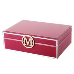 Large Pink Personalised Glass Jewellery Box Initial M.