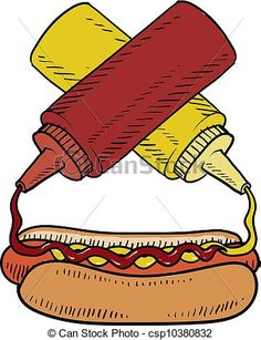 Vector - Hot dog with condiments sketch - stock illustration, royalty free illustrations, stock clip art icon, stock clipart icons, logo, line art, EPS picture, pictures, graphic, graphics, drawing, drawings, vector image, artwork, EPS vector art