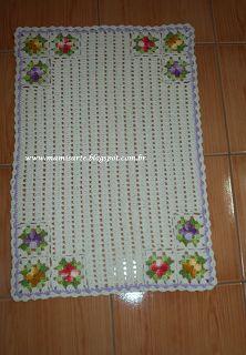 """Crochet et Tricot da Mamis: Tapete em croche """"Flores nos 4 cantos""""- Receita"""