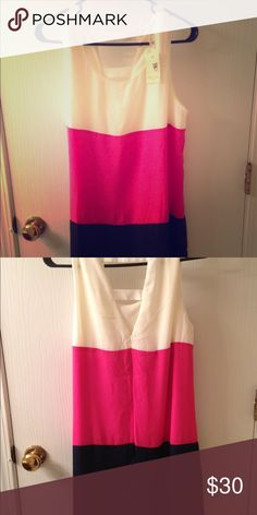 Multicolored short dress Pink, white and navy knee length dress. Never worn, tags still on. Non smoker. No pets. Dresses Midi