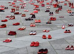 Turin (Italy) Scarpe rosse -  public art project on violence against women Learn Italian in Turin www.ciaoitaly-turin.com
