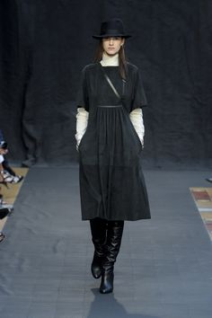 HERMES  Fall 2012 Short Sleeve Grey Suede Knee-Length Casual Dress with Leather Bib Applique