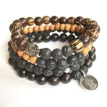 Clarity Strength Men's Mala Bracelet www. Yoga Jewelry, Tribal Jewelry, Bohemian Jewelry, Beaded Jewelry, Beaded Bracelets, Bohemian Gypsy, Jewellery, Bracelet Size Chart, Bracelet Sizes