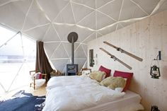 Interior of the domes of Whitepod in Switzerland.