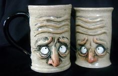 Halloween Dishes, Halloween Clay, Hand Built Pottery, Slab Pottery, Biscuit, Face Jugs, Clay Cup, Handmade Pottery, Handmade Ceramic