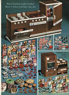 1968 Montgomery Ward Christmas Catalog Little oven also came in aqua.  I remember baking little cakes in it.