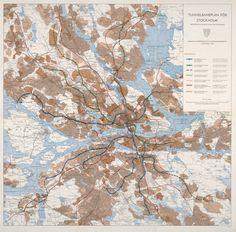 Stockholms tunnelbaneplan 1965. Blå linje går till Nacka, grön till Bollmora.