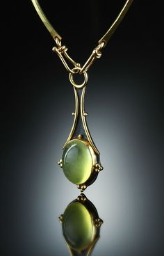 Sterling silver and gold necklace with prehnite cabochon drop by Amy Buettner Tucker Glasow Metal Jewelry, Pendant Jewelry, Jewelry Art, Silver Jewelry, Vintage Jewelry, Jewelry Accessories, Jewelry Necklaces, Jewelry Design, Fashion Jewelry