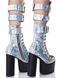 💊💊 Rave Fashion & EDM Clothing, Outfits & Wear for Festivals Holographic Boots, Holographic Fashion, Goth Platform Boots, Platform Shoes, Cute Shoes, Me Too Shoes, Kawaii Shoes, Rave Outfits, Scene Outfits
