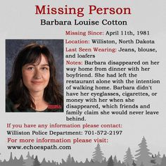 The disappearance of Barbara Louise Cotton. Have You Seen, Did You Know, Amber Alert, John Doe, Missing Persons, True Crime, Flyers, Mysterious, Pray
