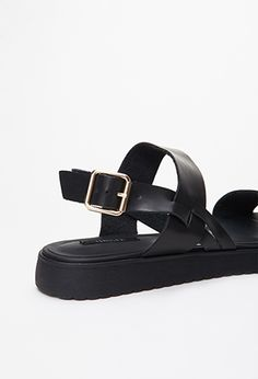Faux Leather Flatform Sandals   Forever 21 - 2000079570