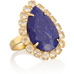 Bounkit Gold-plated, quartz and lapis lazuli ring ($235) ❤ liked on Polyvore featuring jewelry, rings, jewelry - rings, royal blue, gold plated jewellery, lapis lazuli ring, quartz jewelry, royal blue jewelry and clear jewelry