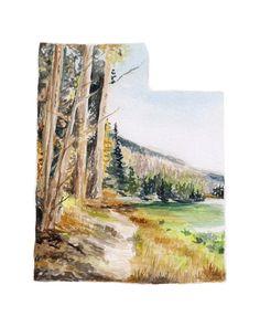 This beautiful Utah Art Print print is of an original watercolor landscape…