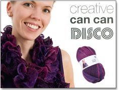1 pelote = 1 écharpe  - Créative Can can ou Loopy ( Rico design) facile à tricoter pour un effet vraiment surprenant :1 pelote pour une écharpe fantaisie de 140cm environ. Les instructions sont à l'intérieur de la bande de la pelote. Relevez 7 mailles puis tricotez les mailles uniquement à l'endroit - avec des aiguilles n°7-8 ou un crochet. Scrapbooking, Rico Design, Instructions, Crochet, Easy Knitting, Band, Creative Crafts, Fantasy, Ganchillo