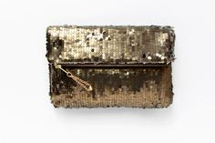 BRONZE Sequin Fold Clutch. Gold Sequin Clutch. by GiftShopBrooklyn