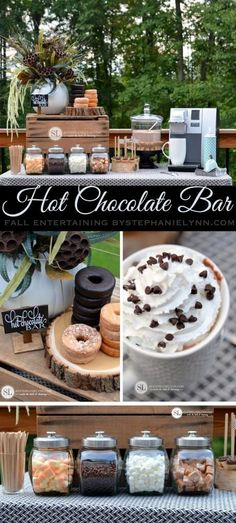 A decked-out hot chocolate bar is the perfect way to warm up Fall party guests!