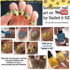 Nailed It NZ: Sunflower Nail Art - Picture Tutorial! http://www.naileditnz.com/2013/10/sunflower-nail-art-picture-tutorial.html