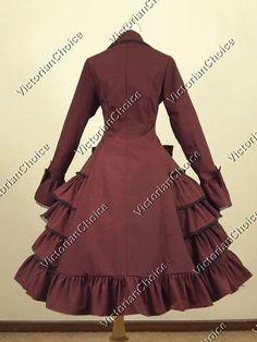 High Quality Gothic Victorian Lolita Steampunk Cosplay Coat Dress Women Costume C019