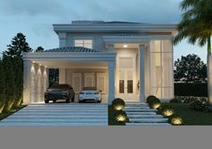 Disciplined treated contemporary porch design Keep reading Classic House Exterior, Classic House Design, Dream House Exterior, Modern House Design, Village House Design, House Front Design, Home Room Design, Home Design Plans, Style At Home