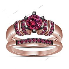 1.18 CT Round Pink Sapphire Peg Head Setting 14K Rose Gold Fn Bridal Ring Set #aonejewels