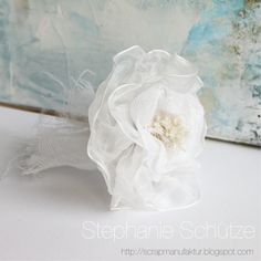 Birthday Rose made from fabric and ribbons by @SBAdhesivesby3L by @donnasalazar http://scrapmanufaktur.blogspot.ch/2016/02/white-birthday-rose-with-products-from.html?m=1 #flower #fabricrose