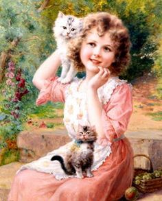 """""""This nostalgic not as weird as ´s & postcards that he posts on FB or here LOL, but I find it cute. Vintage Pictures, Vintage Images, Pictures To Paint, Art Pictures, Munier, Decoupage Vintage, Victorian Art, Vintage Cat, Fine Art"""