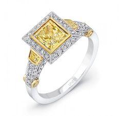 Uneek Natureal Yellow Princess-Cut Diamond Engagement Ring LVS395