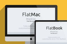 A flat design version of the iMac and Macbook in a psd vector mockup template. Use the smart layer to drag...