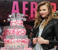 Make a wish: The Dark Shadows star was presented with a pink and glittering silver birthday cake