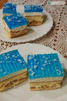 Ciasto biszkoptowe z kajmakiem i niebieską galaretką Krispie Treats, Rice Krispies, Vanilla Cake, Cheesecake, Bakken, Cheesecakes, Rice Krispie Treats, Cherry Cheesecake Shooters