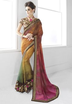 Buy Multicolor Art Silk Saree with Blouse online, work: Embroidered, color: Multicolor, usage: Party, category: Sarees, fabric: Art Silk, price: $111.20, item code: SWS4865, gender: women, brand: Utsav