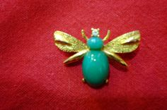 Vintage Blue Bee Brooch by PirateLazor on Etsy, $16,00