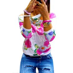 Fashion Women Girl Long Sleeve Floral Print T Shirts Crew Neck