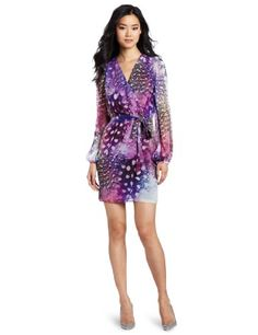 ERIN Erin Fetherston Womens Printed Wrap Dress, Purple Feather, 10.  check discount today! click picture on top