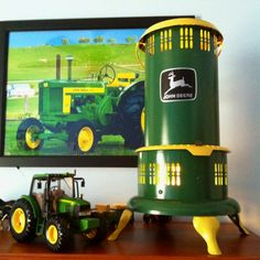 Old kerosene farm lamp converted as a night light for my little boy John Deere theme room.
