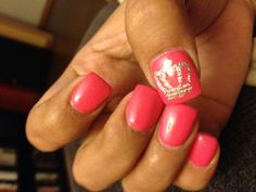 Silver glitter crown and hot pink nails #queen