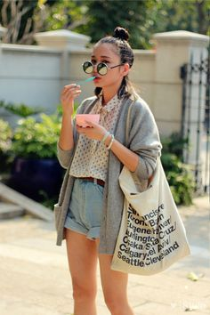 polka dot shirt, jeans shorts, grey cardigan, rounded sunnies