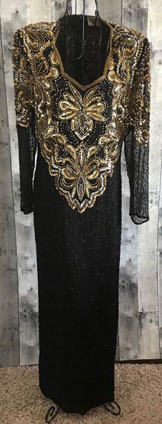Vintage Elegance Silk Beaded Sequin Evening Gown Dress Black Gold Bling Medium #Elegance #Gown