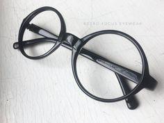 457257e734 70 s Oversized NOS Round Eyewear Prescription Black Glasses Eyeglasses  Frames Vintage Made in USA We