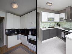 Aikaisemman keittiön kuivauskaapissa oli kolme ovea johtuen asunnon edellisen omistajan tekemästä ovien vaihdosta. Vanhoihin runkoihin ei muuten olisi saanut ovia sopimaan ilman mittatilausovien tilaamista.   Vanhan keittiön välitila on samoin poikkeuksellisen ahdas: kahvinkeitin mahtuu tasolle hädin tuskin. Uusi keittiö on valoisa ja ilmava - ja nyt astiat mahtuvat paikoilleen samoin kuin kaikki ovet mahtuvat avautumaan ilman kolinoita.