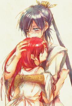 Morgiana needs a hug, Hakuryuu obliges.