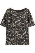 Michael Kors|Lace-print silk-blend shantung top|NET-A-PORTER.COM