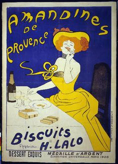 food, french poster, advertising, vintage, vintage posters, graphic design, classic posters, free download, retro prints, Amandines de Provence, Biscuits H. Lalo - Vintage French Biscuit Advertising Poster