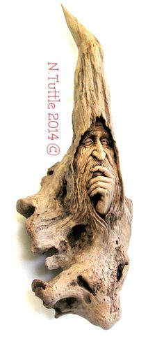 Meditating Wizard by psychosculptor..........carved driftwood